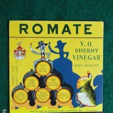 Etiquetas antiguas: ETIQUETA DE VINO DE JEREZ BODEGA SANCHEZ ROMATE . Lote 117719867