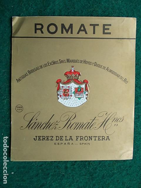 ETIQUETA DE VINO DE JEREZ BODEGA SÁNCHEZ ROMATE ANTIGUA BODEGA (Coleccionismo - Etiquetas)