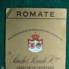 Etiquetas antiguas: ETIQUETA DE VINO DE JEREZ BODEGA SÁNCHEZ ROMATE ANTIGUA BODEGA. Lote 117722703