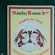 Etiquetas antiguas: ETIQUETA DE VINO DE JEREZ BODEGA SANCHEZ ROMATE . Lote 117725035