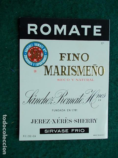 ETIQUETA DE VINO DE JEREZ BODEGA SANCHEZ ROMATE FINO MARISMEÑO (Coleccionismo - Etiquetas)