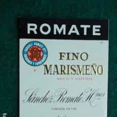 Etiquetas antiguas: ETIQUETA DE VINO DE JEREZ BODEGA SANCHEZ ROMATE FINO MARISMEÑO. Lote 117792287