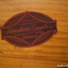 Étiquettes anciennes: ¡¡PRECIOSA ETIQUETA AÑOS-30-40 ¡¡FAUSTINO GAMBON,,,,,,,ZARAGOZA. Lote 118130903