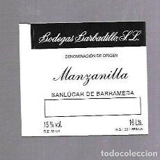 Etiquetas antiguas: ETIQUETA DE VINO. MANZANILLA. ANTONIO BARBADILLO. SANLUCAR DE BARRAMEDA. Lote 118420451