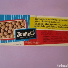 Etiquetas antiguas: ETIQUETA DE GARBANZOS COCIDOS AL NATURAL. JORADEZ. MENENDEZ E HIJOS, S. L. ANDUJAR. 1971.. Lote 118588995