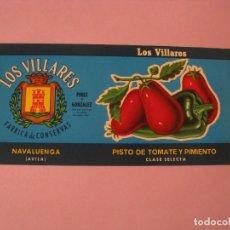 Etiquetas antiguas: ETIQUETA DE PISTO DE TOMATE Y PIMIENTO. LOS VILLARES. PEREZ Y GONZALEZ.NAVALUENGA, AVILA.. Lote 118589783