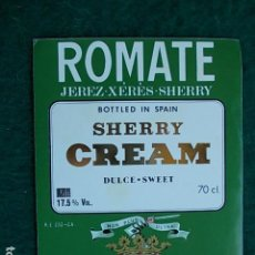 Etiquetas antiguas: ETIQUETA DE VINO DE JEREZ BODEGA ROMATE SHERRY CREAM. Lote 118794695