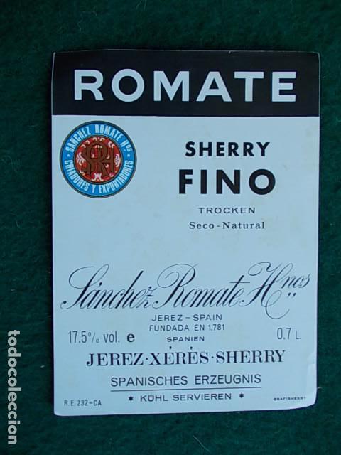 ETIQUETA DE VINO DE JEREZ BODEGA ROMATE SHERRY FINO (Coleccionismo - Etiquetas)