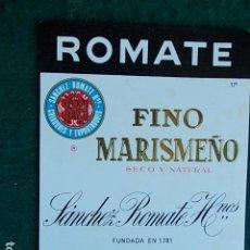 Etiquetas antiguas: ETIQUETA DE VINO DE JEREZ BODEGA ROMATE SHERRY FINO MARISMEÑO. Lote 118794971