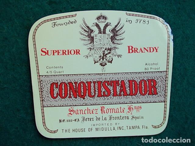 ETIQUETA DE VINO DE JEREZ BODEGA ROMATE CONQUISTADOR (Coleccionismo - Etiquetas)