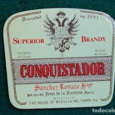 Etiquetas antiguas: ETIQUETA DE VINO DE JEREZ BODEGA ROMATE CONQUISTADOR. Lote 118893523