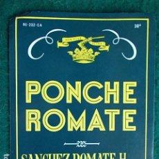 Etiquetas antiguas: ETIQUETA DE VINO DE JEREZ BODEGA ROMATE PONCHE. Lote 118896067