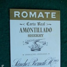 Etiquetas antiguas: ETIQUETA DE VINO DE JEREZ BODEGA ROMATE AMONTILLADO. Lote 118896259