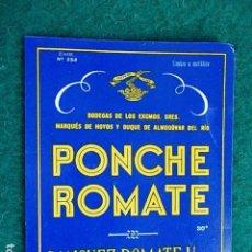 Etiquetas antiguas: ETIQUETA DE VINO DE JEREZ BODEGA ROMATE PONCHE. Lote 118896295