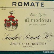 Etiquetas antiguas: ETIQUETA DE VINO DE JEREZ BODEGA ROMATE ALMODOVAR. Lote 118896427