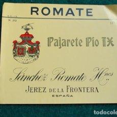 Etiquetas antiguas: ETIQUETA DE VINO DE JEREZ BODEGA ROMATE PAJARETE. Lote 118896475