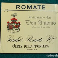 Etiquetas antiguas: ETIQUETA DE VINO DE JEREZ BODEGA ROMATE DON ANTONIO. Lote 118896499