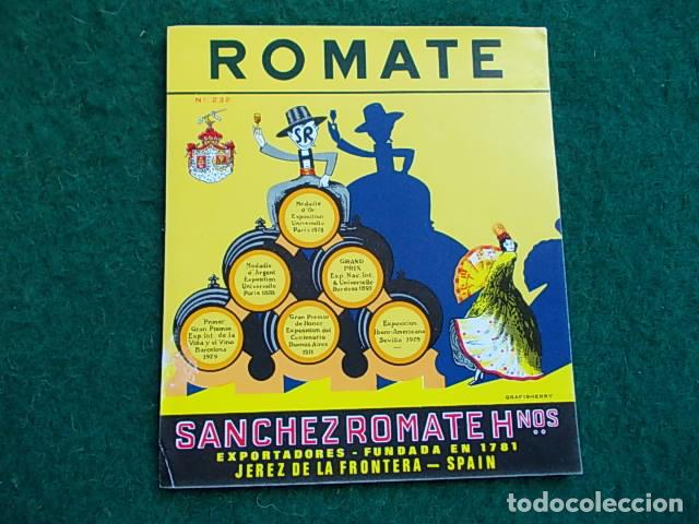 ETIQUETA DE VINO DE JEREZ BODEGA ROMATE (Coleccionismo - Etiquetas)