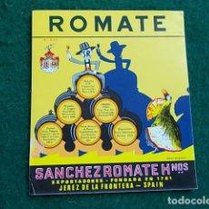 Etiquetas antiguas: ETIQUETA DE VINO DE JEREZ BODEGA ROMATE . Lote 118896543