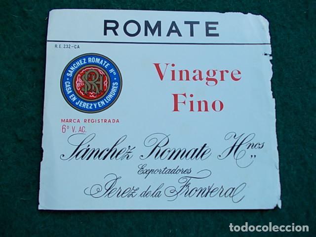 ETIQUETA DE VINO DE JEREZ BODEGA ROMATE VINAGRE FINO (Coleccionismo - Etiquetas)