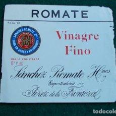 Etiquetas antiguas: ETIQUETA DE VINO DE JEREZ BODEGA ROMATE VINAGRE FINO. Lote 118897023