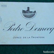 Etiquetas antiguas: ETIQUETA DE VINO DE JEREZ BODEGA PEDRO DOMECG. Lote 118897079