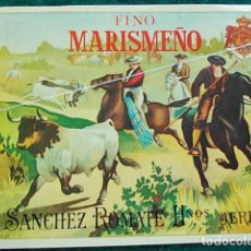 Etiquetas antiguas: ETIQUETA DE VINO DE JEREZ BODEGA ROMATE FINO MARISMEÑO. Lote 118897343