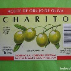 Etiquetas antiguas: ETIQUETA ACEITE DE OLIVA CHARITO. MORENO S.A. CÓRDOBA. Lote 119208503