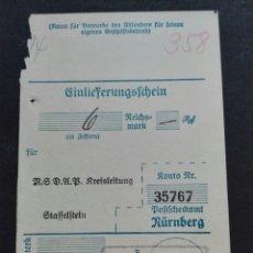 Etiquetas antiguas: TICKET FACTURA NAZI NUREMBERG 1936. Lote 119529158