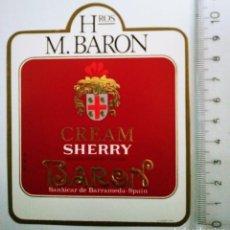 Etiquetas antiguas: ETIQUETA DE VINO CREAM SHERRY BARON. HROS. M. BARON. SANLÚCAR DE BARRAMEDA ROJA RELIEVE. Lote 119864559