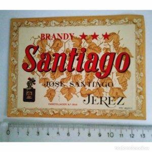 ETIQUETA BRANDY SANTIAGO JOSÉ SANTIAGO JEREZ ESPAÑA