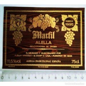 ETIQUETA VINO MARFIL ALELLA COSECHA 1995 ALELLA VINÍCOLA BARCELONA CATALUNYA ESPAÑA
