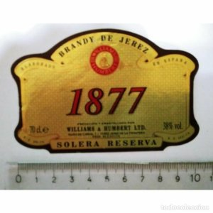 ETIQUETA BRANDY DE JEREZ 1877 WILLIAMS HUMBERT LTD. SOLERA RESERVA ESPAÑA