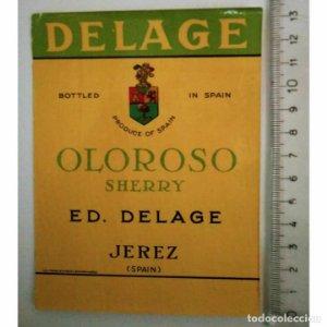 ETIQUETA DELAGE OLOROSO SHERRY ED. DELAGE JEREZ SPAIN
