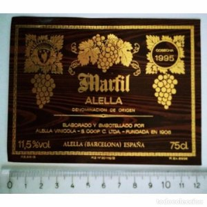 ETIQUETA VINO MARFIL ALELLA COSECHA 1995 ALELLA VINÍCOLA ESPAÑA
