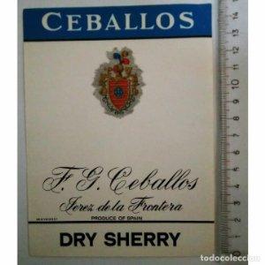 ETIQUETA CEBALLOS F.G.CEBALLOS JEREZ DE LA FRONTERA DRY SHERRY SPAIN ESPAÑA