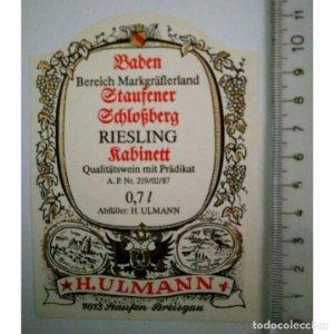 H. ULMANN ETIQUETA BADEN STAUFENER RIESLING RABINETTR
