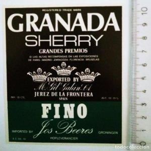 ETIQUETA GRANADA SHERRY FINO JEREZ DE LA FRONTERA IMPORTED BY LOS BEERES