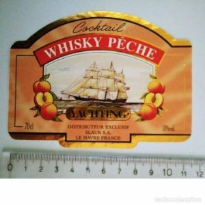 ETIQUETA COCKTAIL WHISKY PECHE YACHTING SLAUS SA LE HAVRE FRANCE