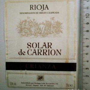 ETIQUETA RIOJA SOLAR DE CARRION CRIANZA