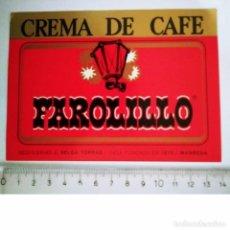 Etiquetas antiguas: ETIQUETA CREMA DE CAFE FAROLILLO DESTILERÍAS J.SELGA TORRAS MANRESA. Lote 119872695