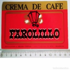 Etiquetas antiguas: ETIQUETA CREMA DE CAFE FAROLILLO DESTILERÍAS J.SELGA TORRAS MANRESA. Lote 119872795