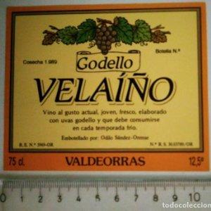 ETIQUETA VELAIÑO GODELLO COSECHA 1969 VALDEORRAS ORENSE