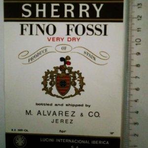 ETIQUETA SHERRY FINO FOSSI VERY DRY M.ALVAREZ JEREZ LUCINI INTERNACIONAL IBERICA S.A.