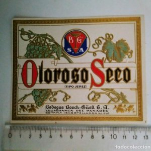 ETIQUETA OLOROSO SECO TIPO JEREZ BODEGAS BOSCH GÜELL VILLAFRANCA DEL PANADES