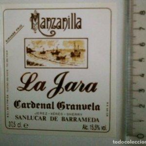 ETIQUETA MANZANILLA LA JARA CARDENAL GRANVELA JEREZ XERÈS SHERRY SANLUCAR DE BARRAMEDA