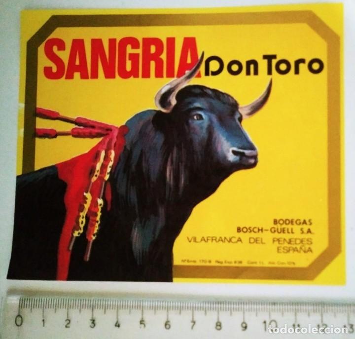 ETIQUETA SANGRÍA DON TORO BODEGAS BOSCH GÜELL VILAFRANCA DEL PENEDÉS (Coleccionismo - Etiquetas)