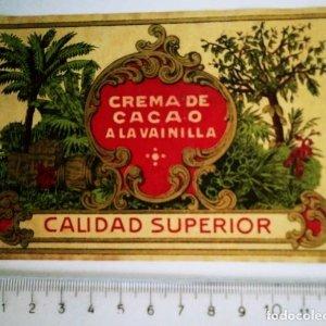 ETIQUETA CREMA DE CACAO A LA VAINILLA CALIDAD SUPERIOR