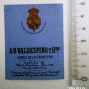 ETIQUETA A. R. VALDESPINO Y HNO JEREZ DE LA FRONTERA