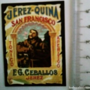 ETIQUETA JEREZ QUINA SAN FRANCISCO TÓNICO APERITIVO F.G. CEBALLOS JEREZ